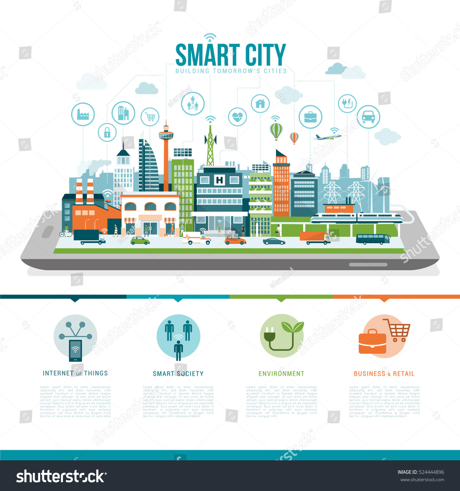 Smart City On Digital Tablet Smartphone Stock Vector ...