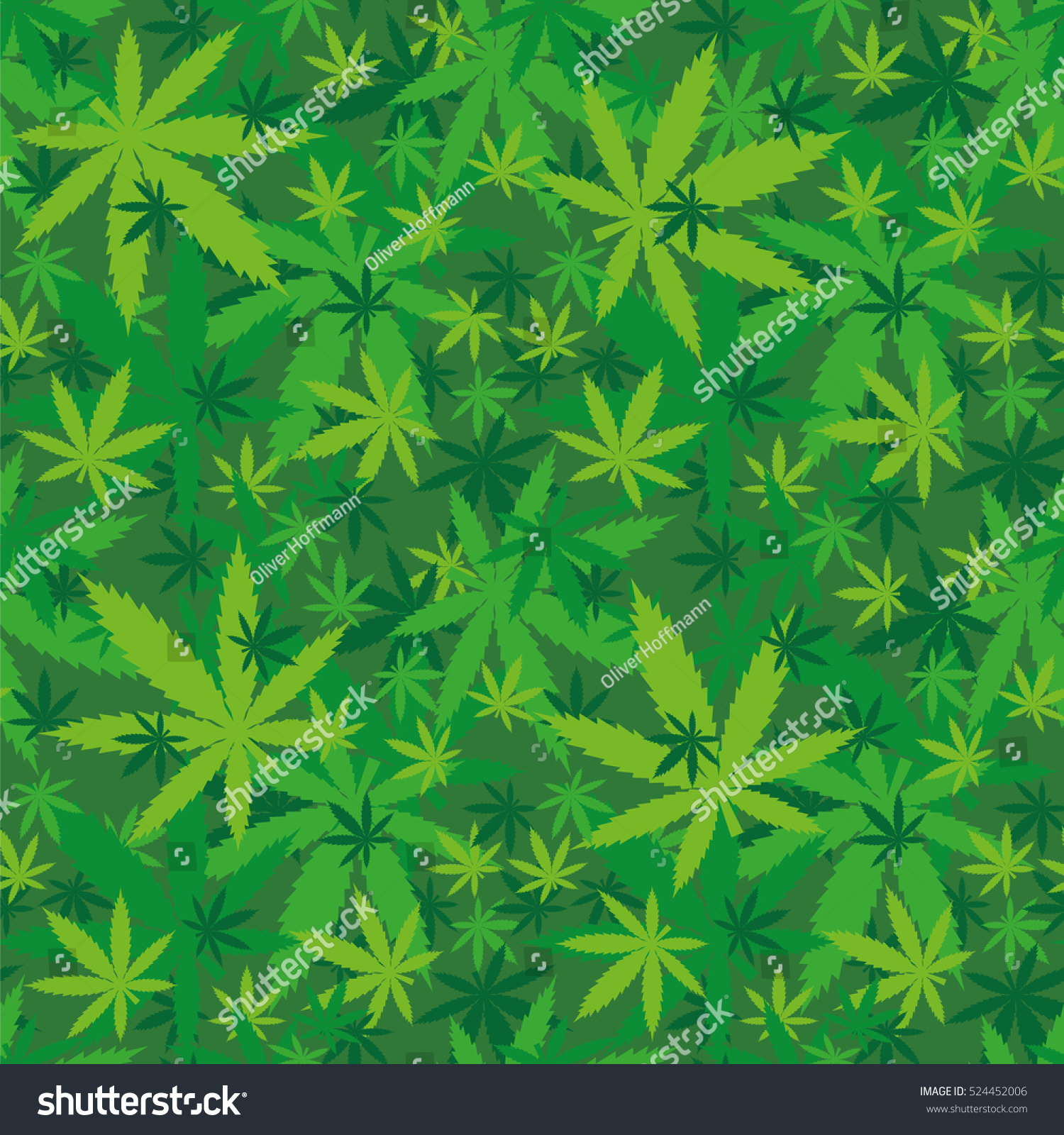 marihuana leaves seamless pattern shades green stock vector