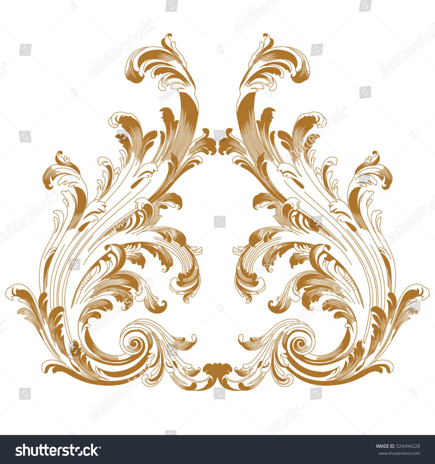 Golden Vintage Baroque Ornament Corner Retro Stock Vector