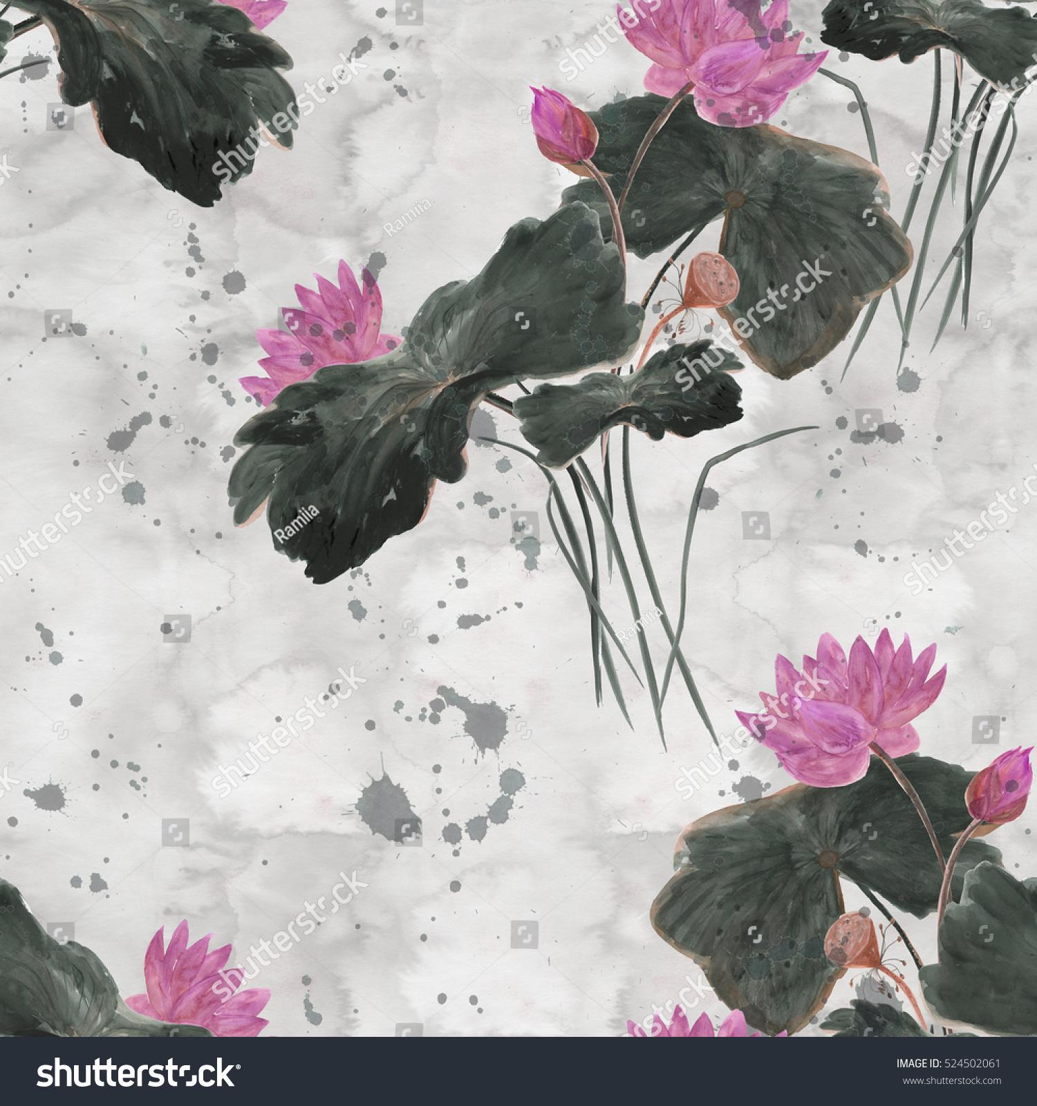 Chinese painting seamless pattern lotus asian stock illustration chinese painting seamless pattern with lotus asian style painting izmirmasajfo