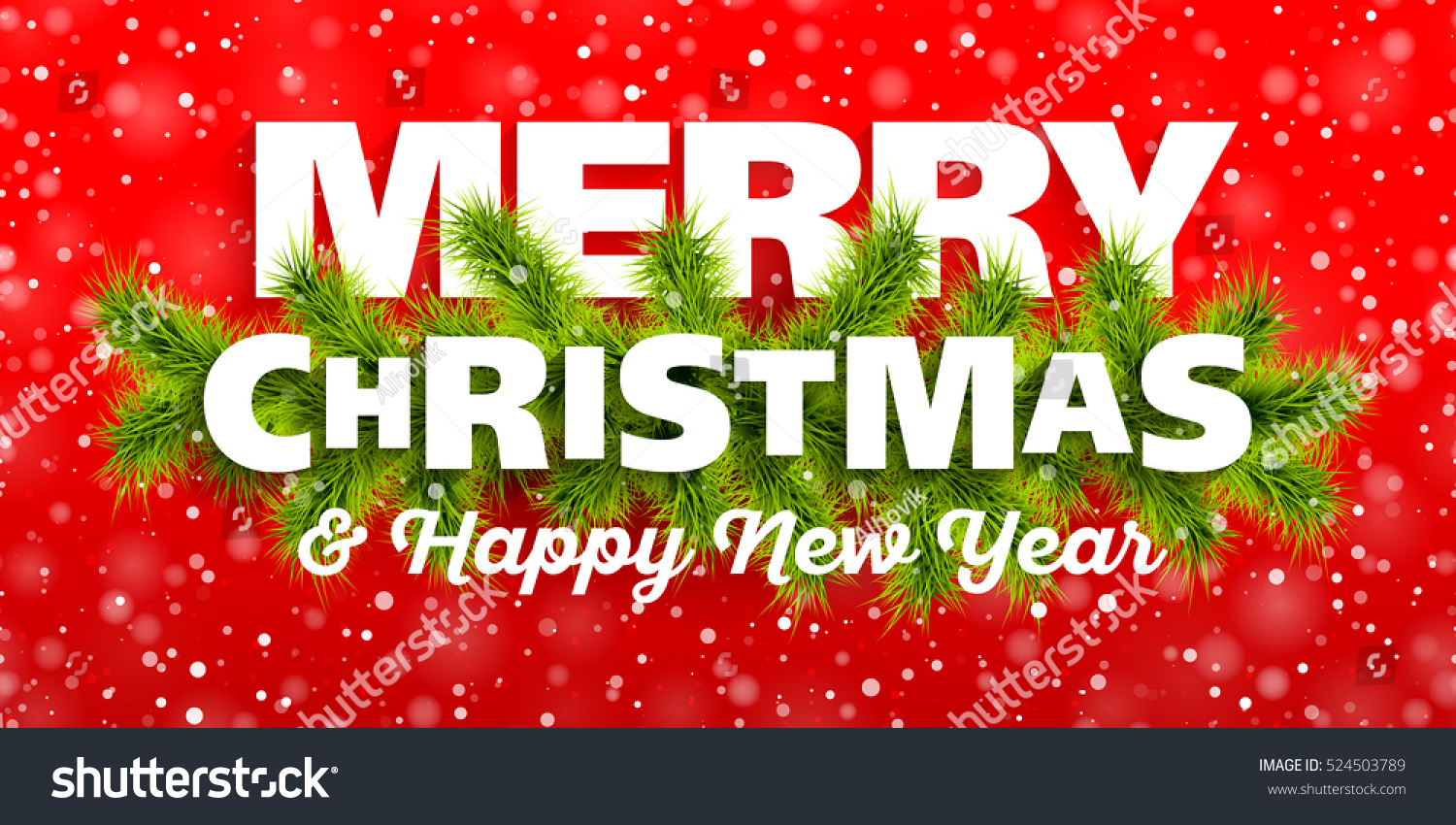 Merry Christmas Happy New Year Greeting Stock-Vektorgrafik ...
