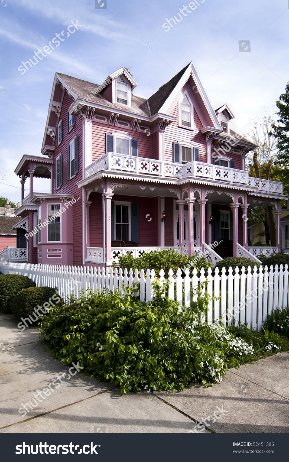 beautiful pink victorian house porch balcony stock photo 52451386