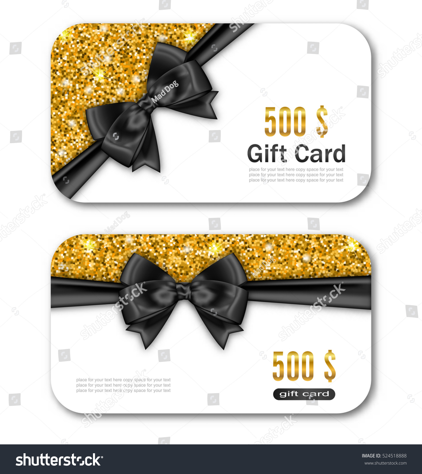 illustration gift card template golden dust stock vector  illustration gift card template golden dust texture and black bow ribbon gift voucher