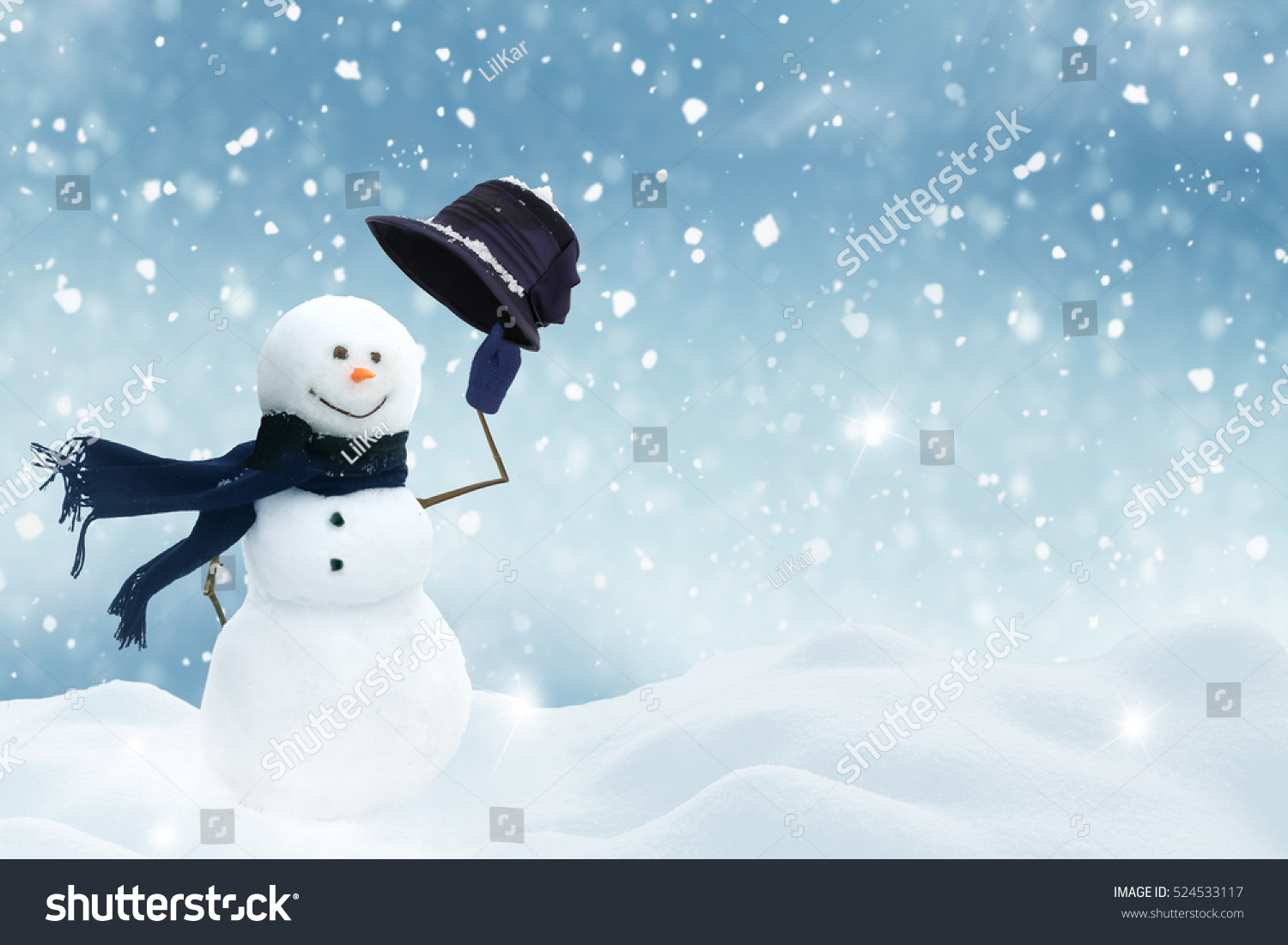 New year greeting card copyspacehappy snowman stock photo