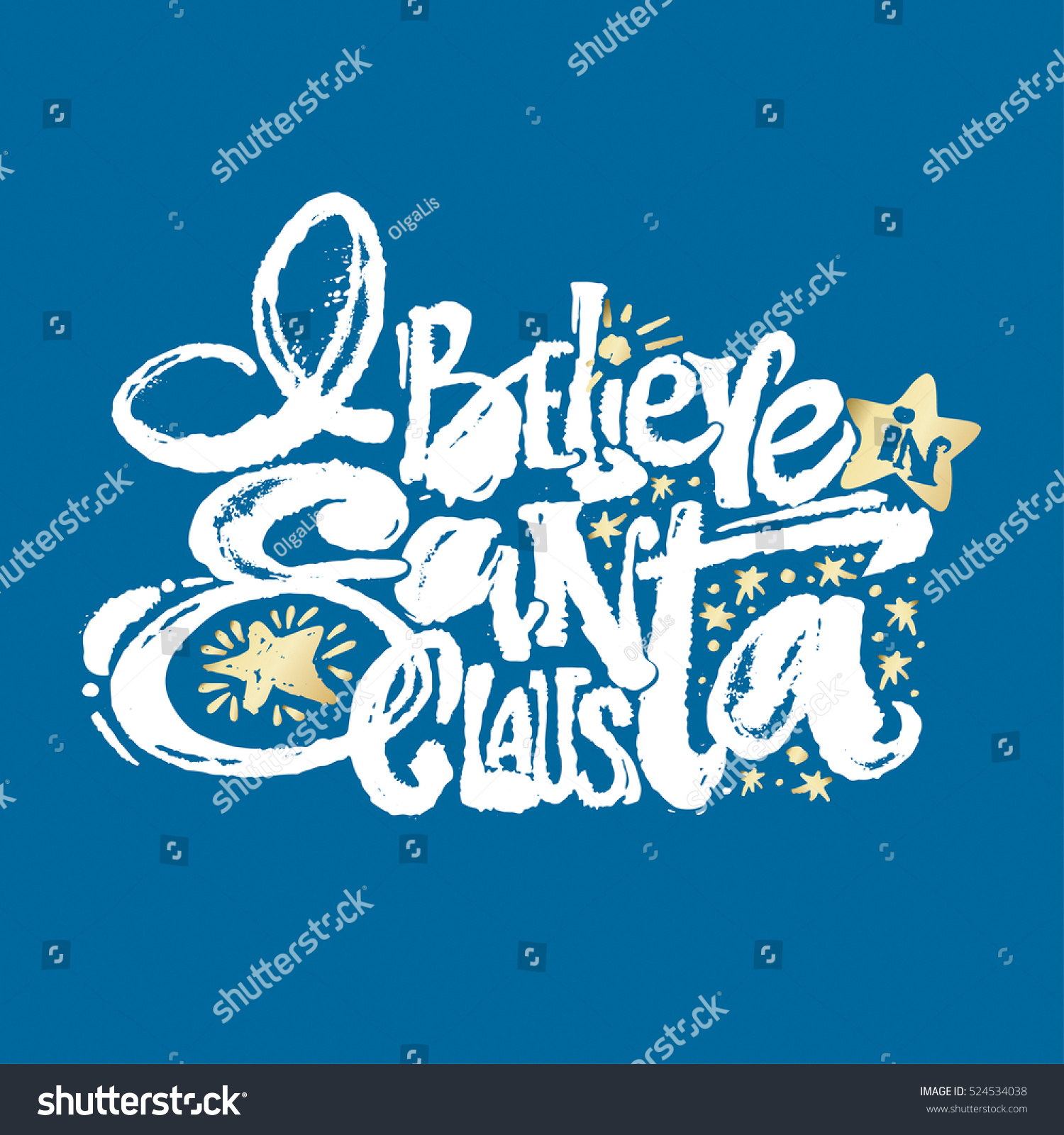 Believe Santa Claus Hand Lettering Banner Stock Vector (Royalty Free ...