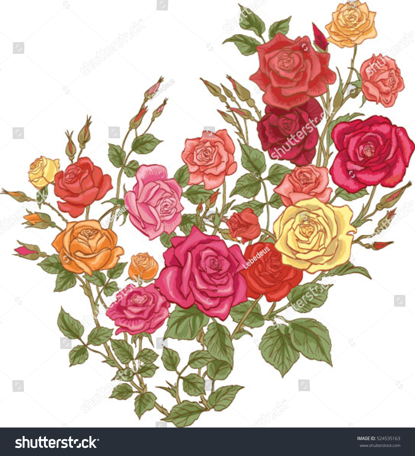 Colorful Flowers Vector Roses Stock Vector 524535163 - Shutterstock