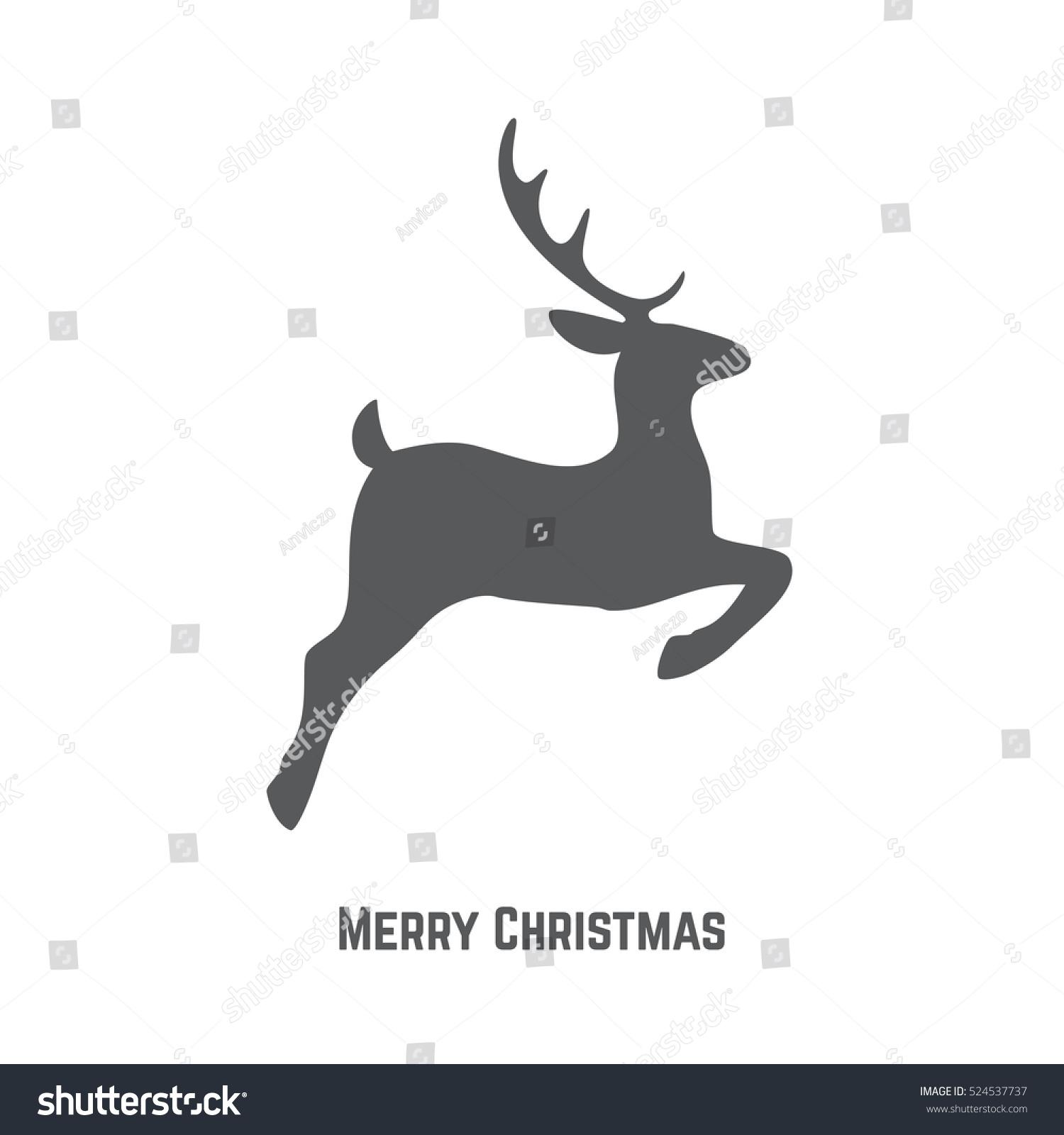 Christmas Reindeer Silhouette Christmas Greeting Card Stock ...