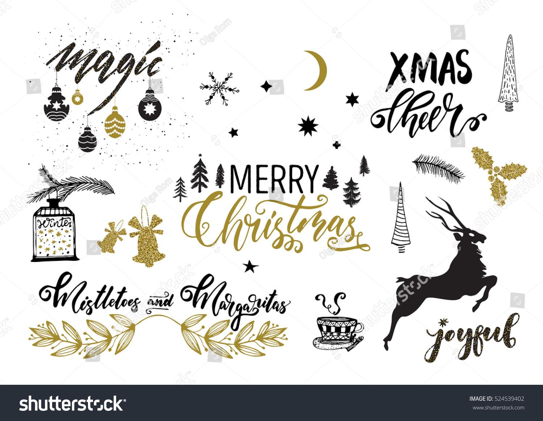 Christmas design elements set modern ink stock vector