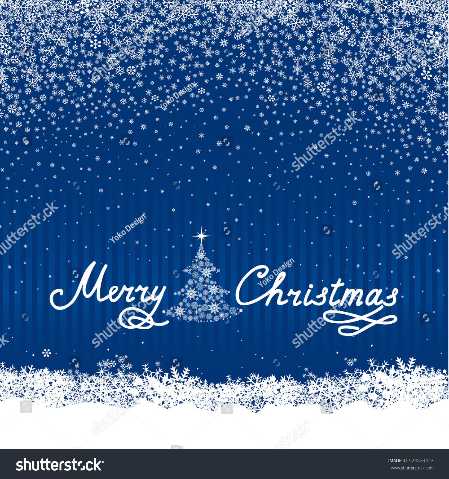 Christmas Snow Background New Year Tree Stock Vector