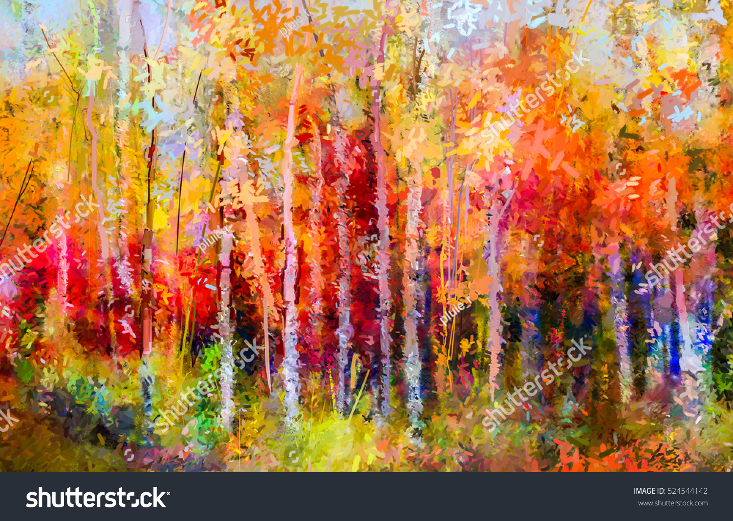 Oil Painting Landscape Colorful Autumn Trees Stock Illustration ...