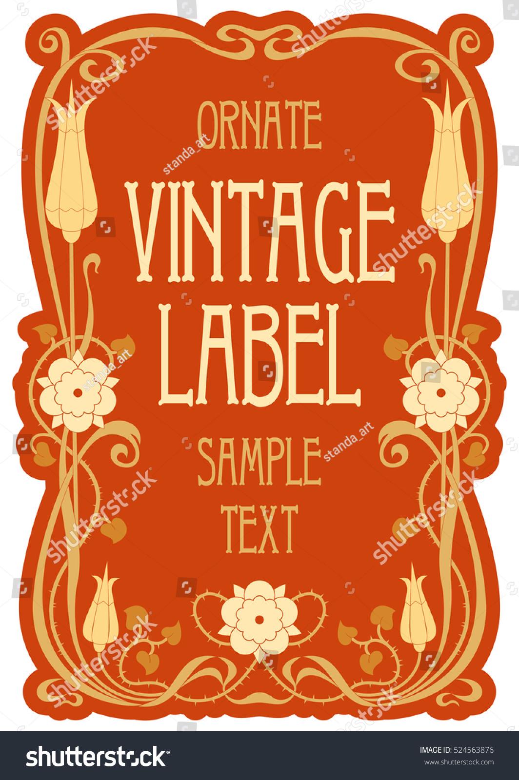 Vector Vintage Items Label Art Nouveau Stock Vector HD (Royalty Free ...