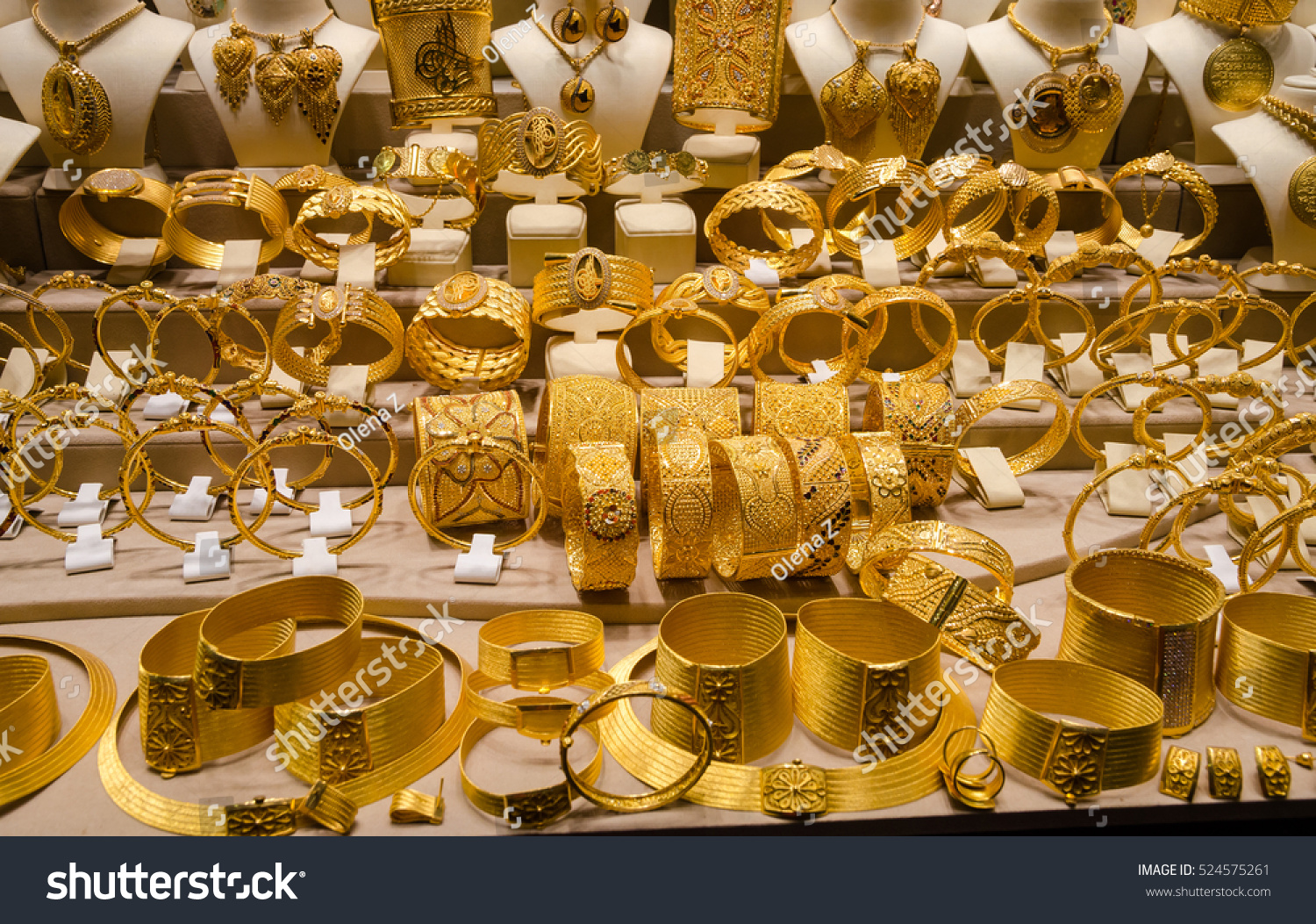 Gold Jewelry Egyptian Bazaar Grand Bazaar Stock Photo Image