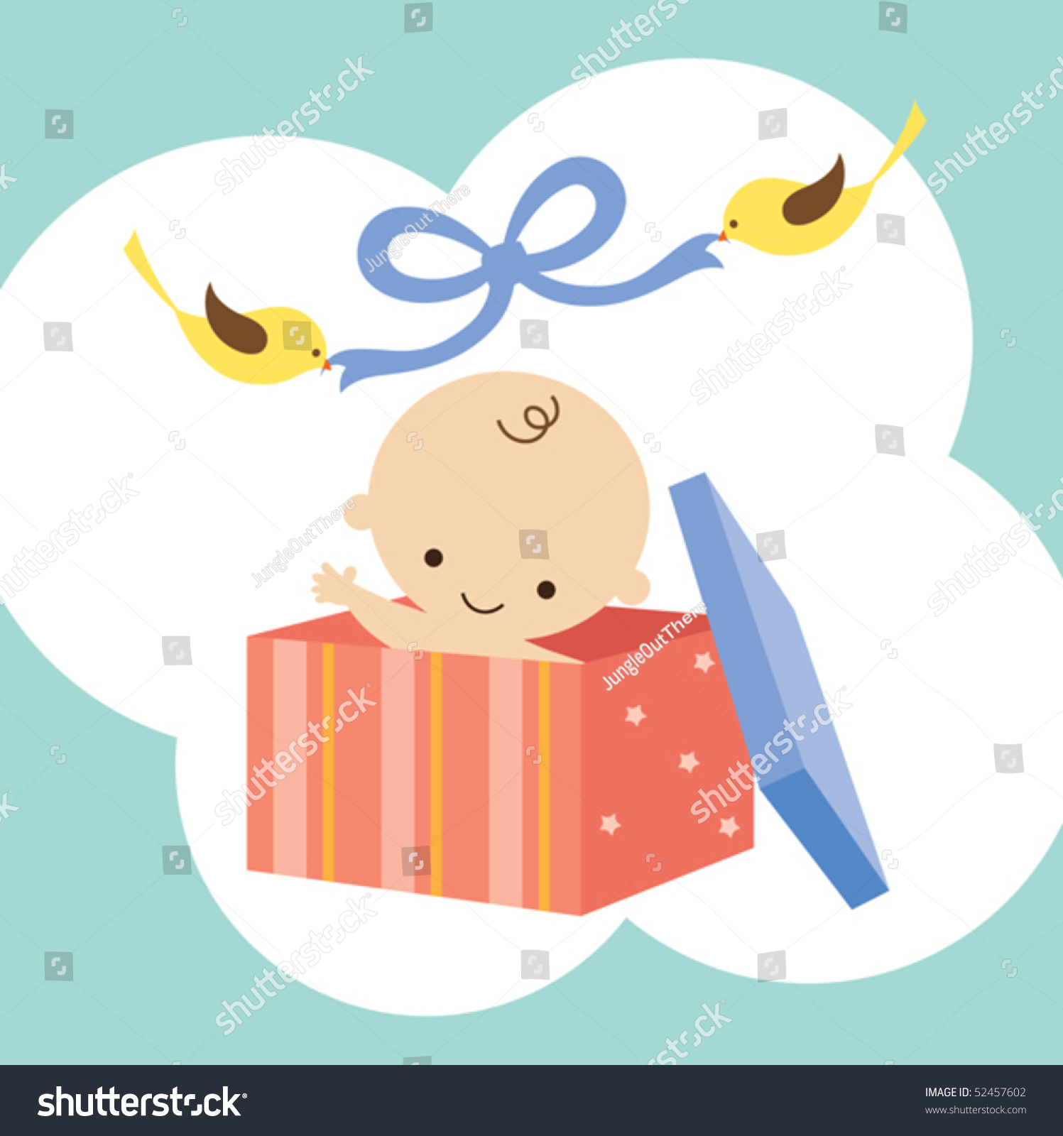 Baby Gift Vector : Vector illustration of a baby in gift box with two birds