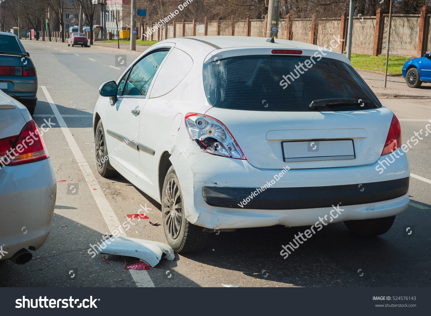 car crash accident on street damaged stock photo (edit now