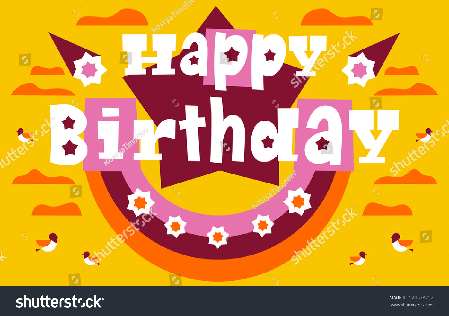Greeting Card Happy Birthday Letters Clouds Stock Vector 524578252
