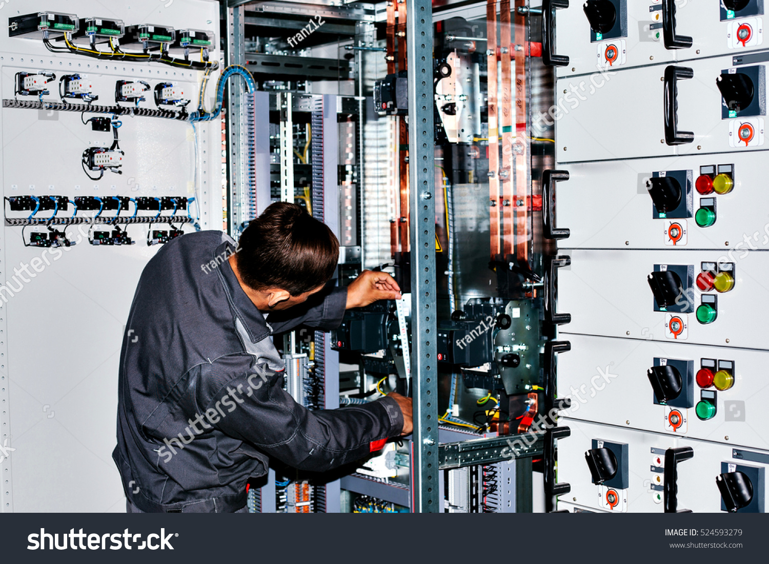 Electrician Near Lowvoltage Cabinet Uninterrupted Power Stock Photo Low Voltage Wiring Supplies The Supply Electricity