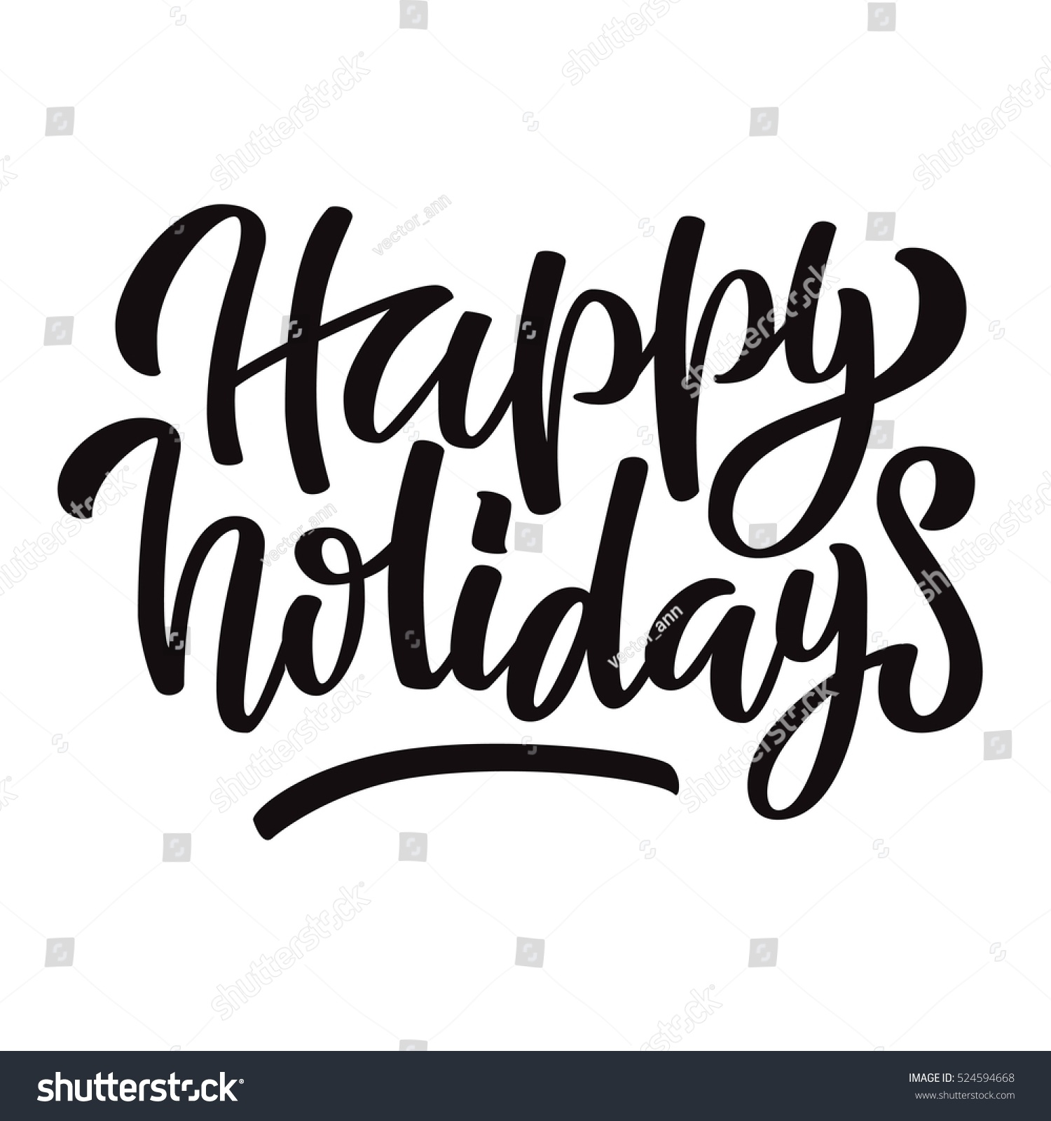 happy holidays black ink brush hand stock vector 524594668 rh shutterstock com happy holidays vector images happy holidays vector images