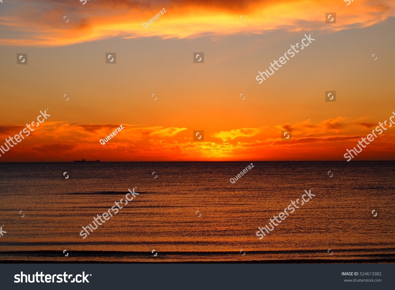 8f085c0f4a Sunset Orange Sky Brighton Beach Melbourne Stock Photo (Edit Now ...
