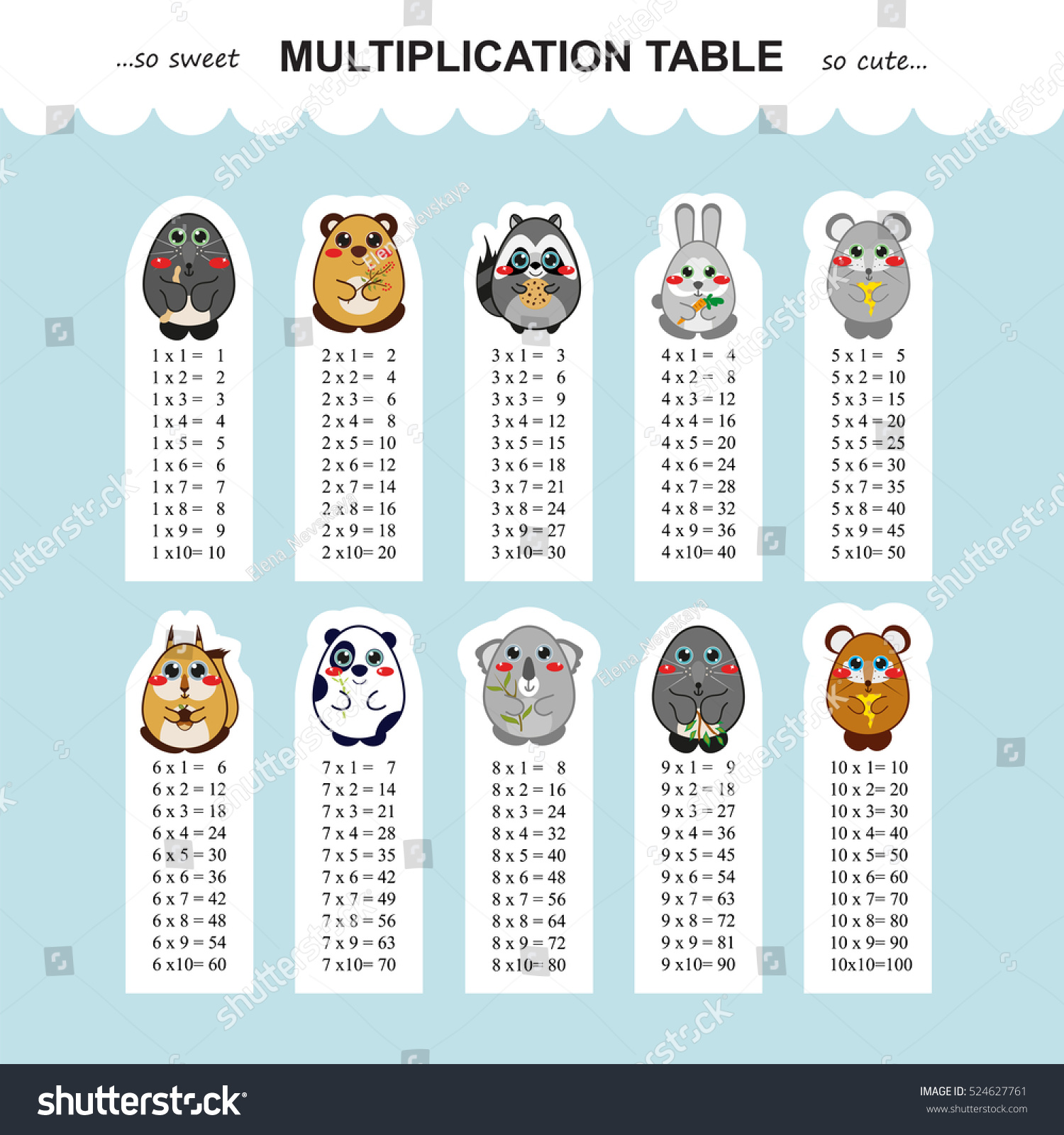 Vector multiplication table printable bookmarks stickers stock vector multiplication table printable bookmarks or stickers with multiple tables kids design kawaii gamestrikefo Image collections
