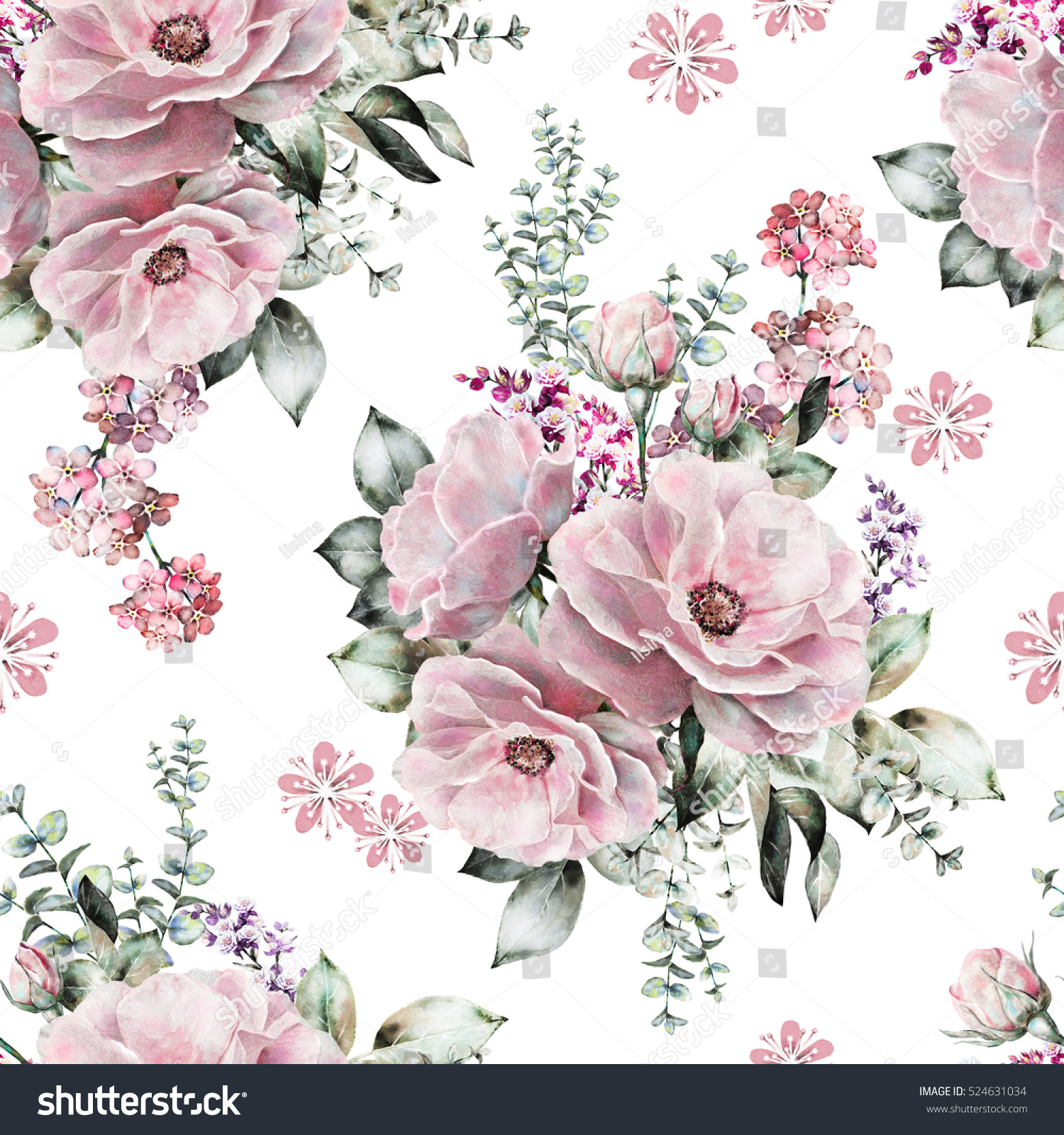 Seamless Pattern Pink Flowers Leaves On Stock Illustration