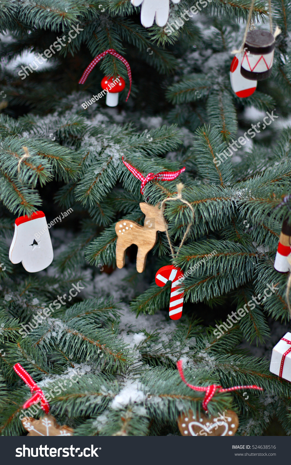 Handmade Hanging Wooden Ornaments Red White Stock Photo Edit Now 524638516