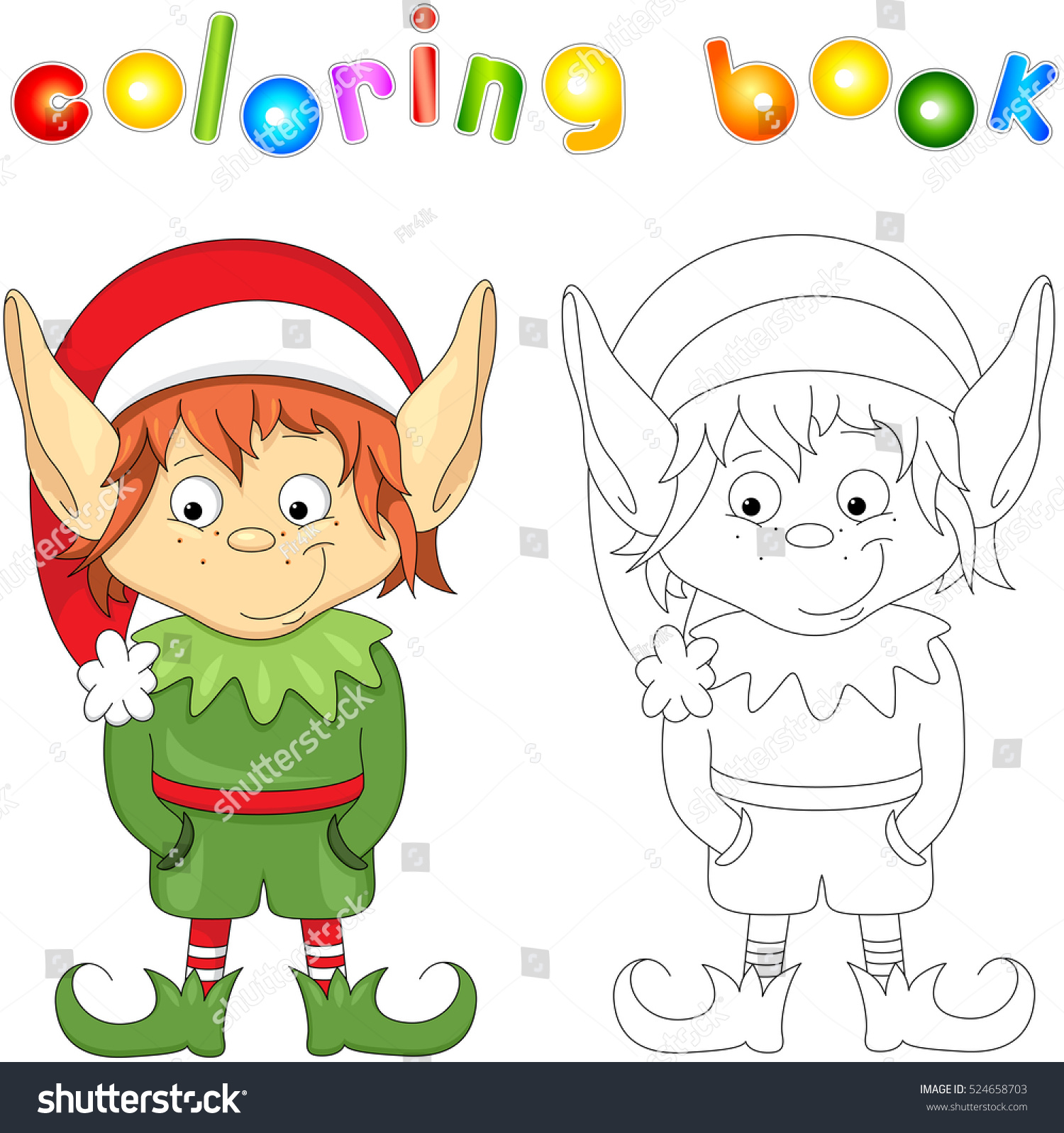 Christmas Elf Coloring Book Kids Stock Vector HD (Royalty Free ...