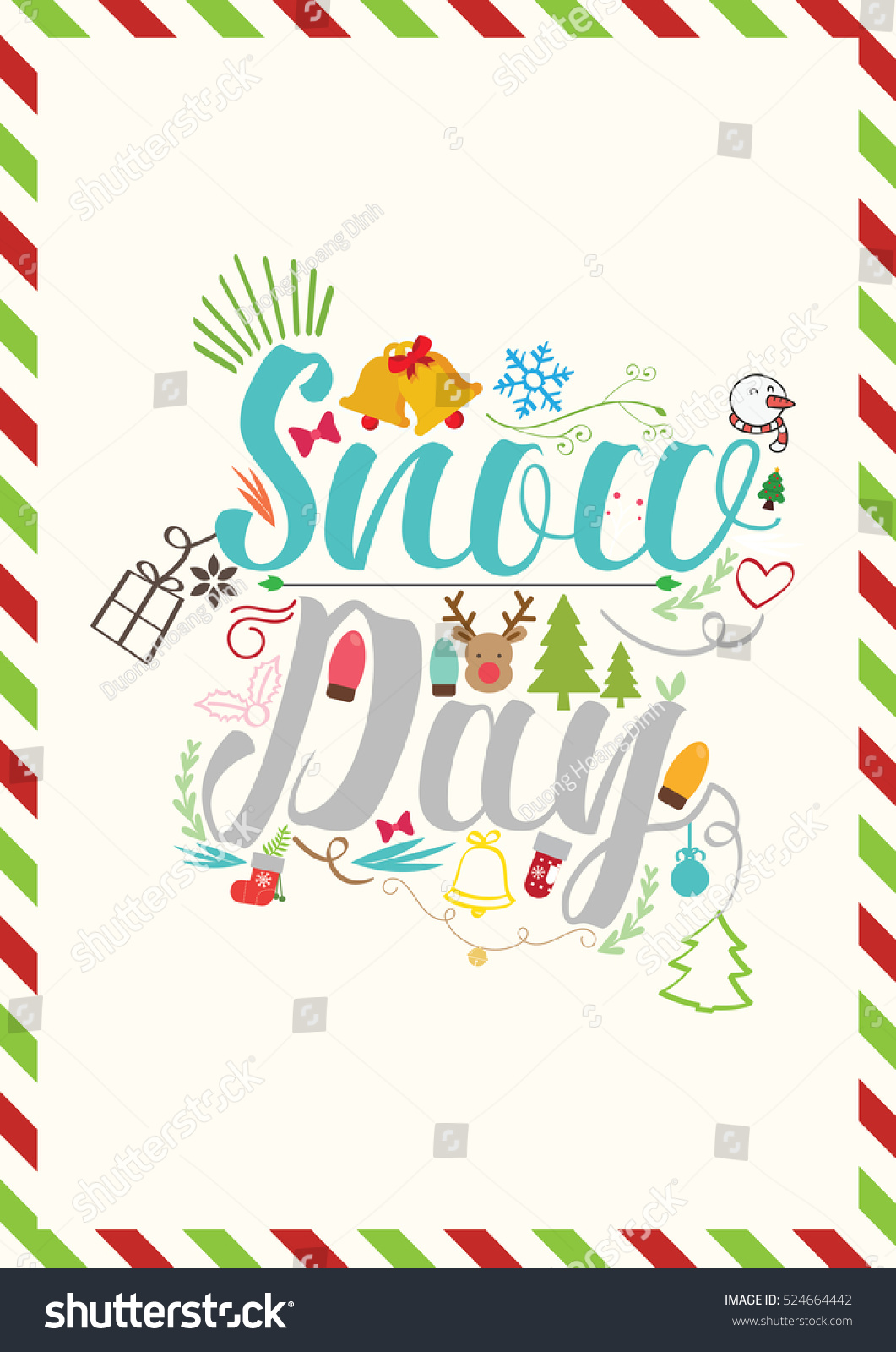 Christmas Quote Snow Day Christmas Greeting Stock Vector Royalty