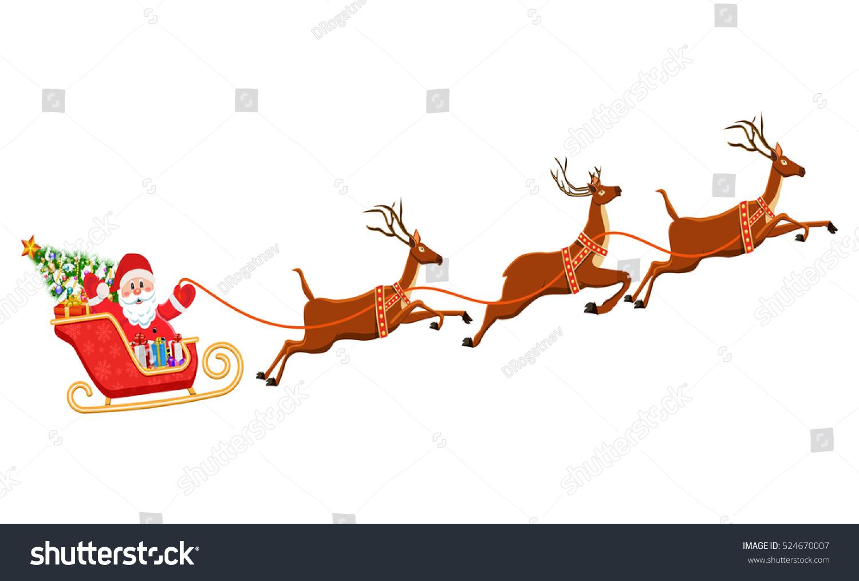 santa claus on sleigh his reindeers stock illustration royalty