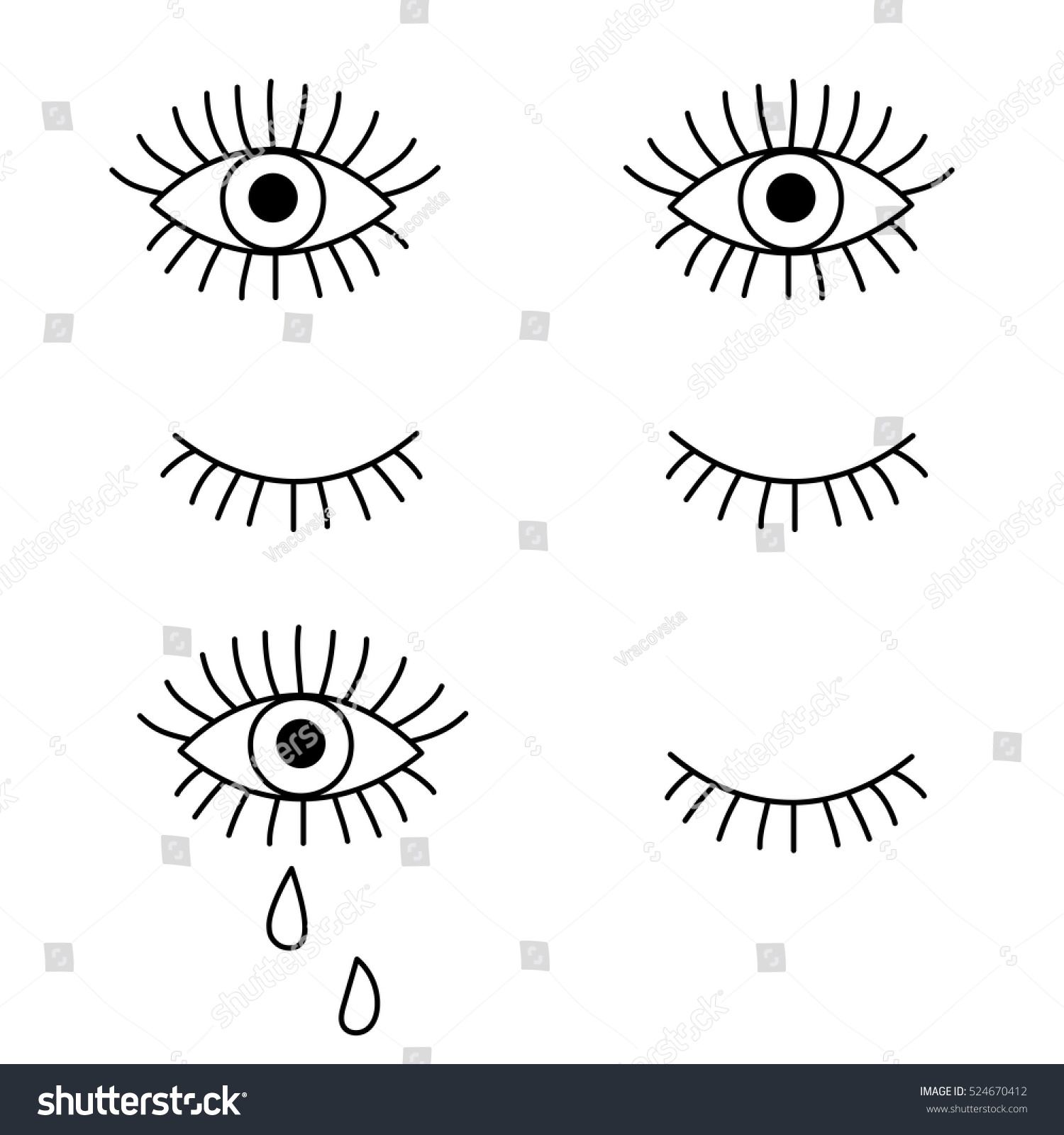 royalty free closed and open eye crying 524670412 stock photo