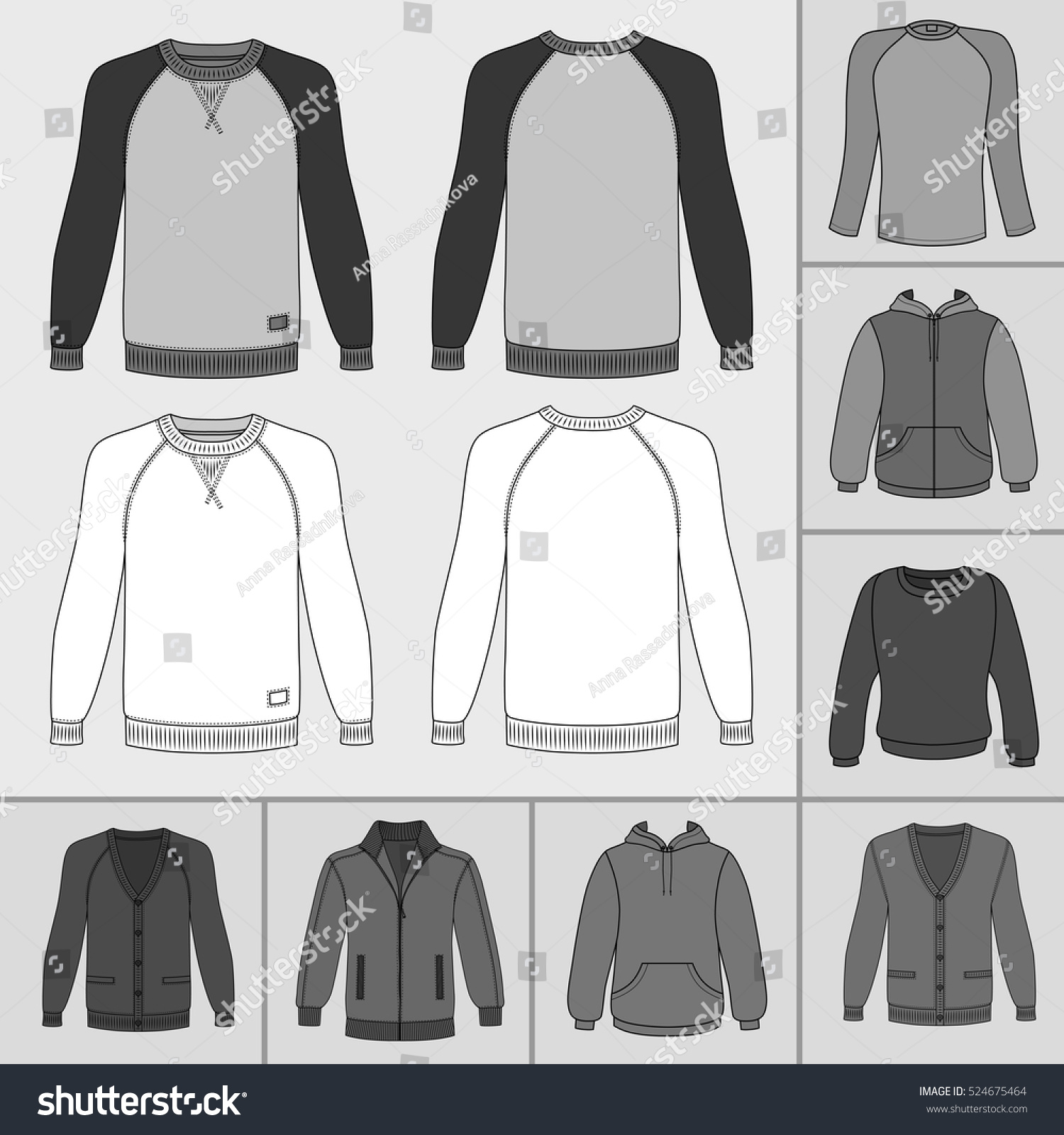 Mens Clothing Outlined Template Set Front Stock Vector 524675464 ...
