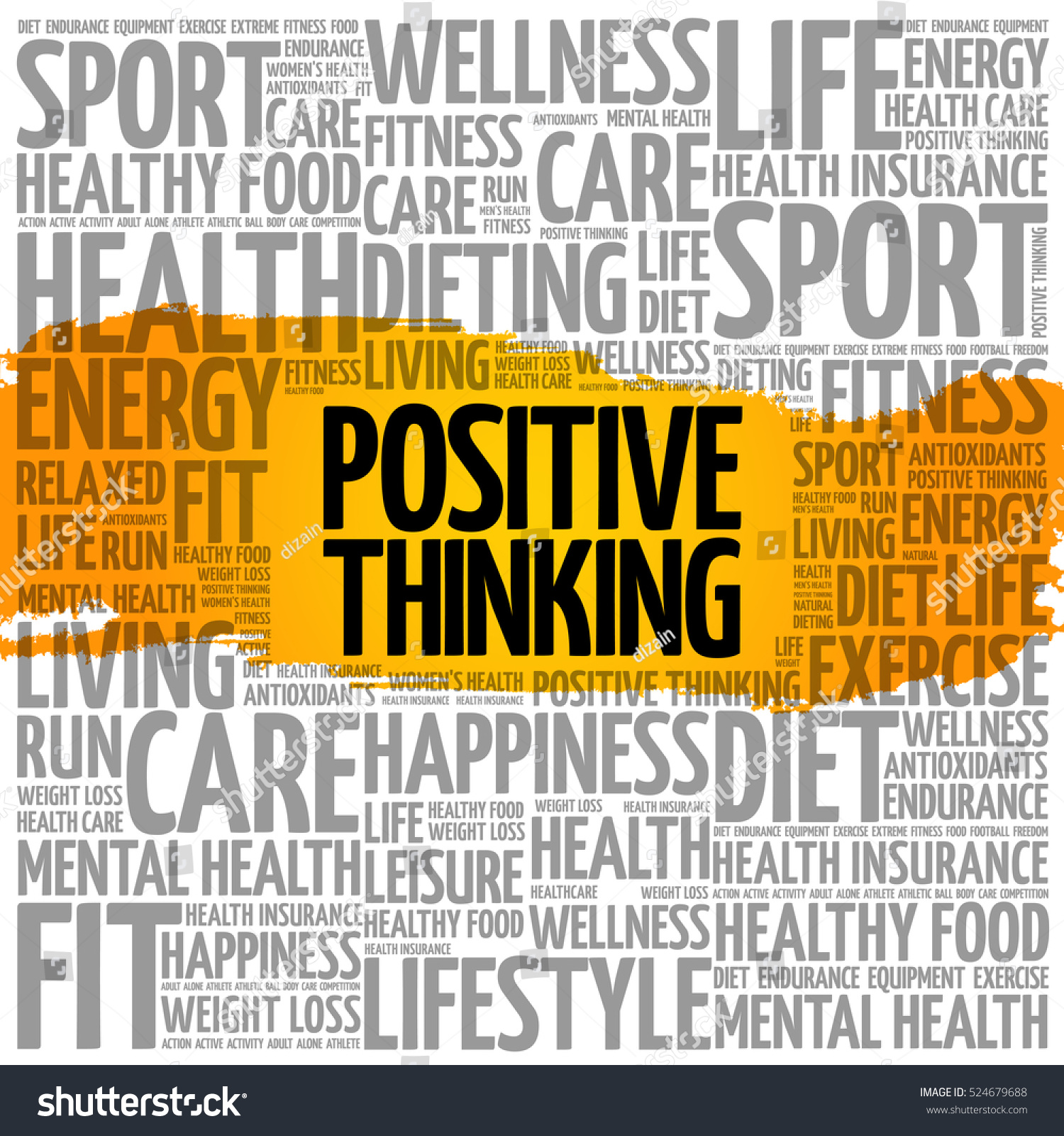 Positive Thinking Word Cloud Collage Health Concept Background