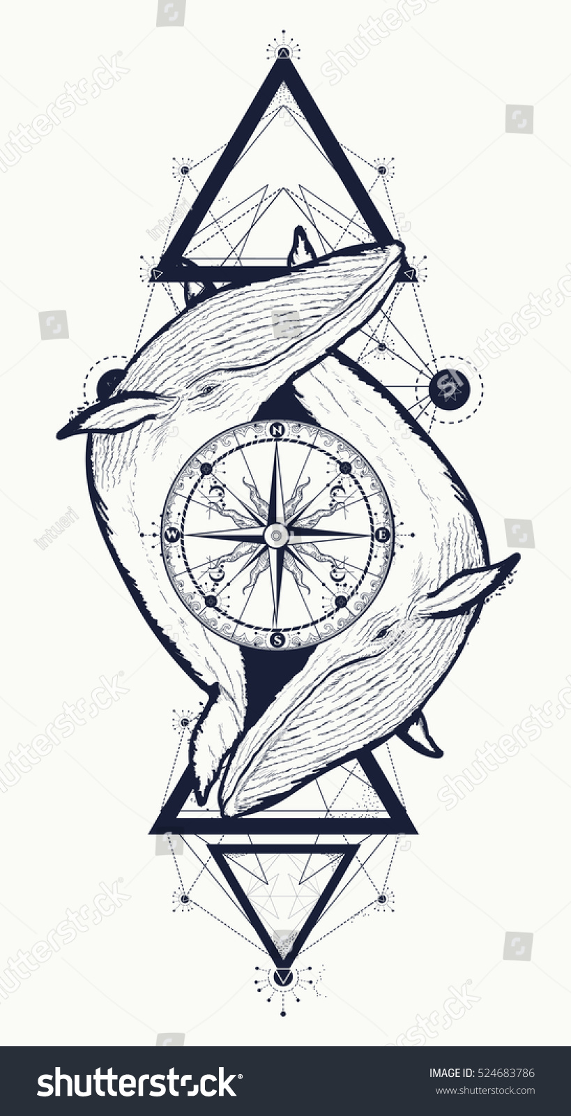 Two Whales Rose Compass Tattoo Geometric Animals Wildlife Signs