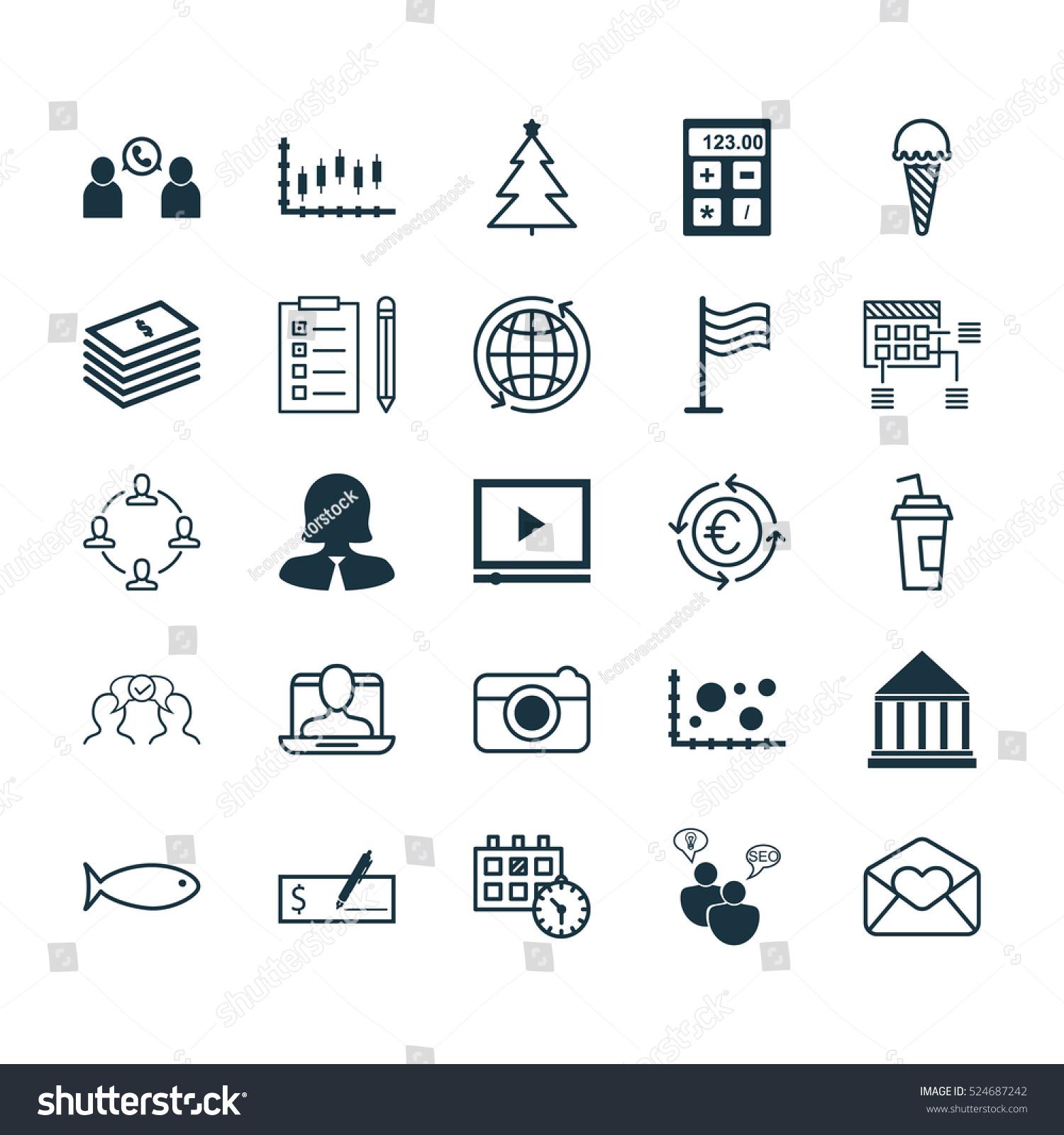 Set 25 Universal Editable Icons Can Stock Vector 524687242