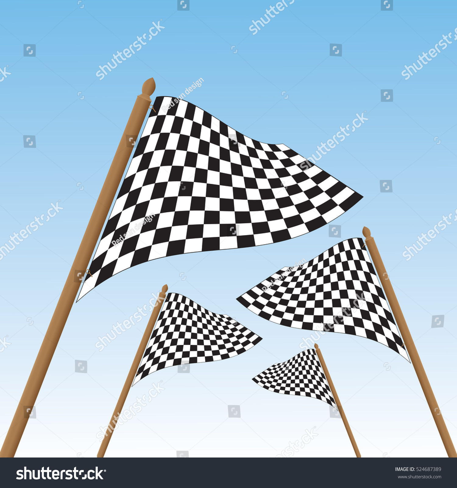 Checkered Flag. Racing Flag On Blue Background. Stock ...
