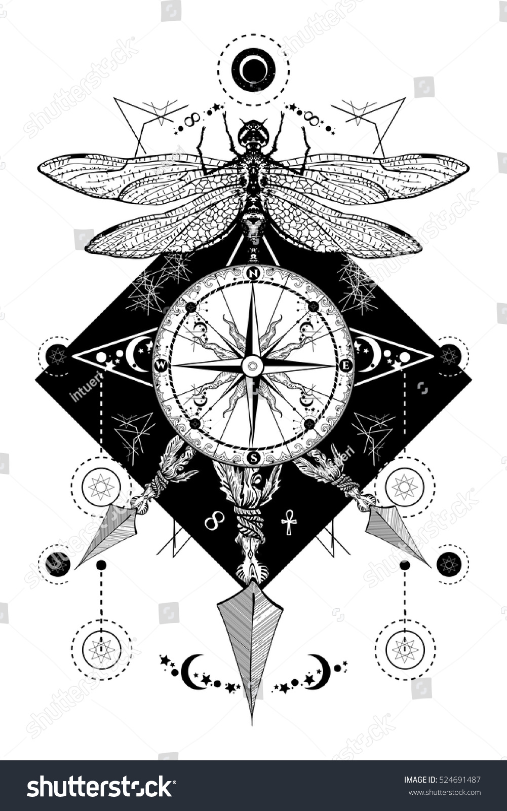 Dragonfly Compass Crossed Arrows Tattoo Mystical Stock Vector