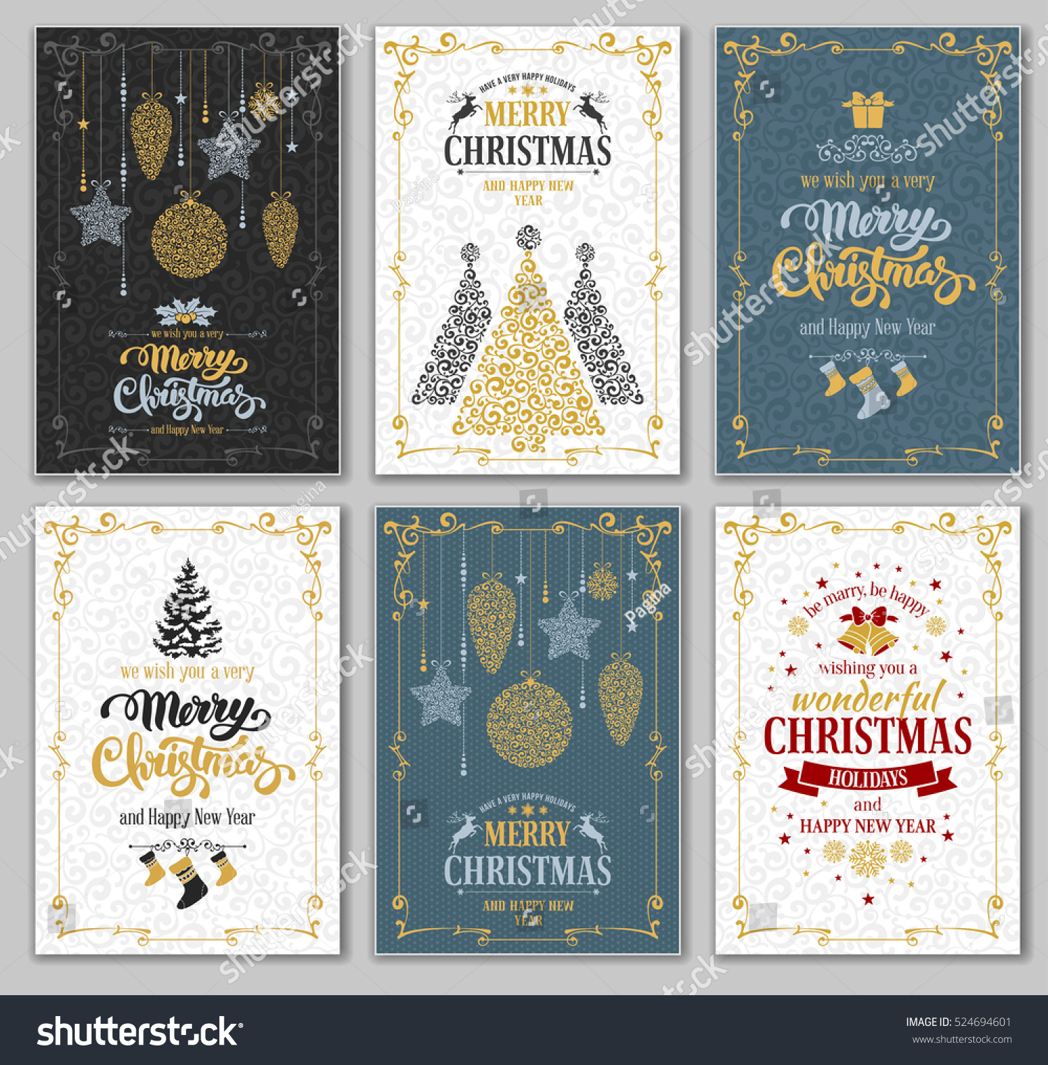 Merry christmas happy new year greeting stock vector royalty free merry christmas and happy new year greeting cards designs set vector graphic in unusual style m4hsunfo