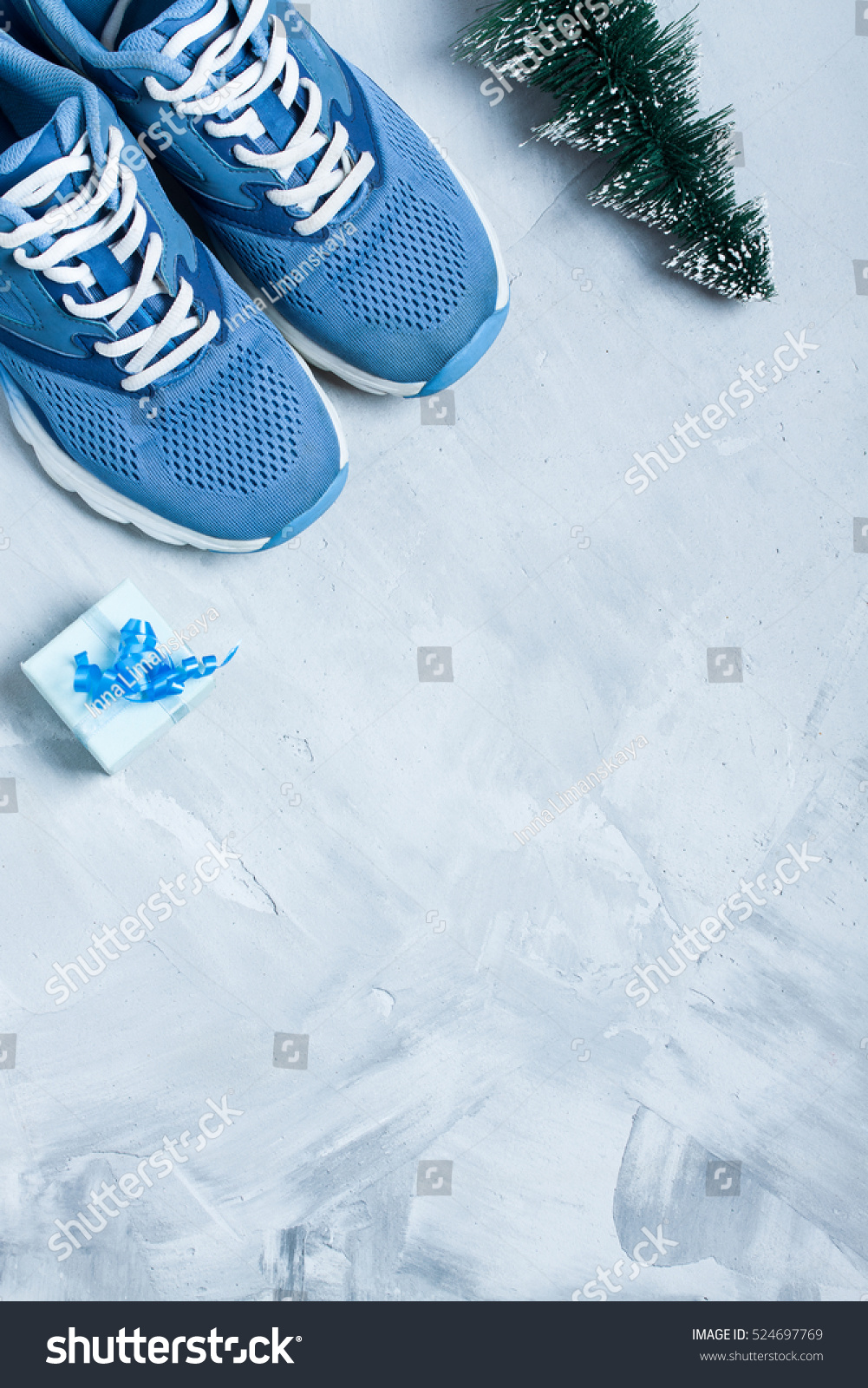 Christmas Sports Background.Christmas Sport Flat Lay Composition Shoes Stock Photo Edit