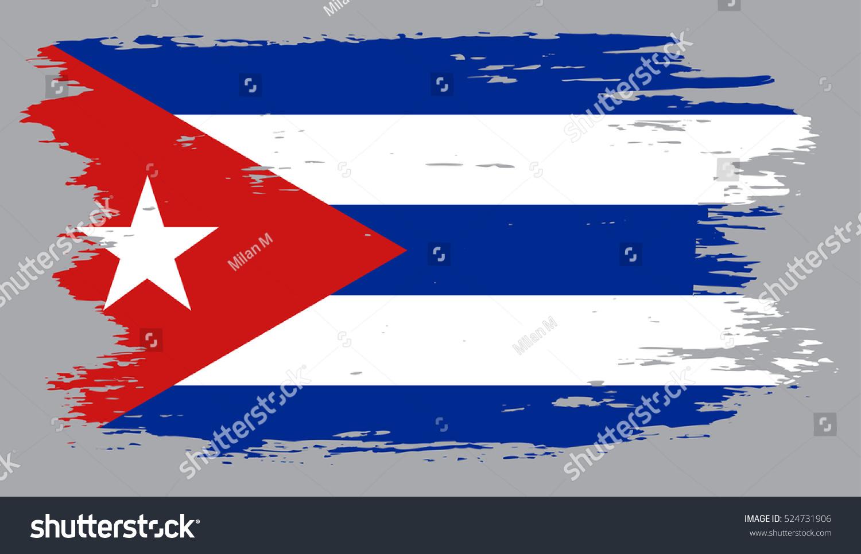 Grunge Cuban Flag.Flag Of Cuba.Vector.
