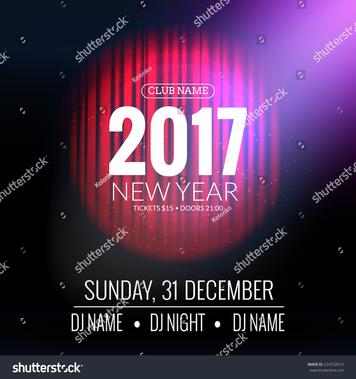 new year party design banner event celebration flyer template with red curtains new year