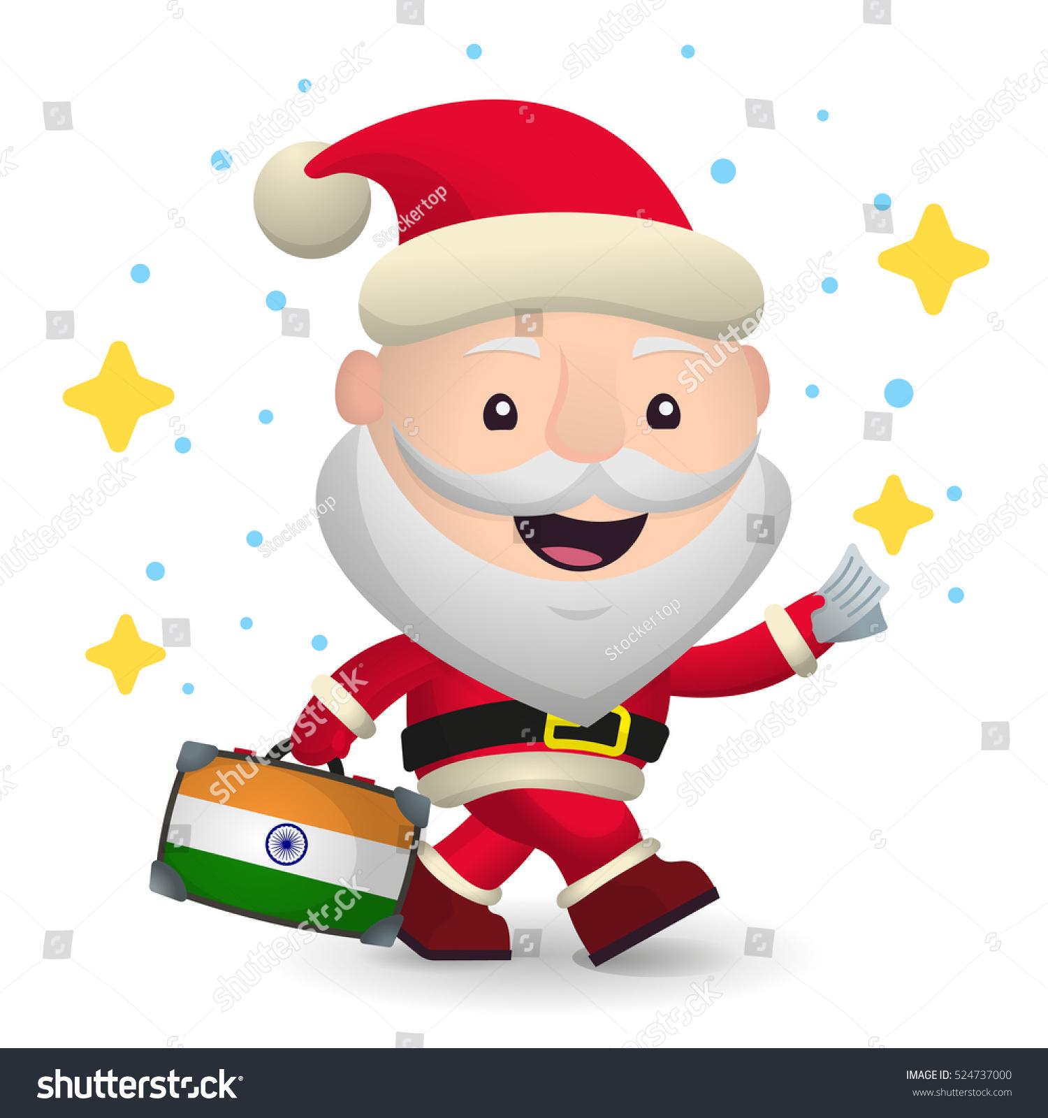 Christmas Travel India Santa Claus Suitcase Stock Illustration ...