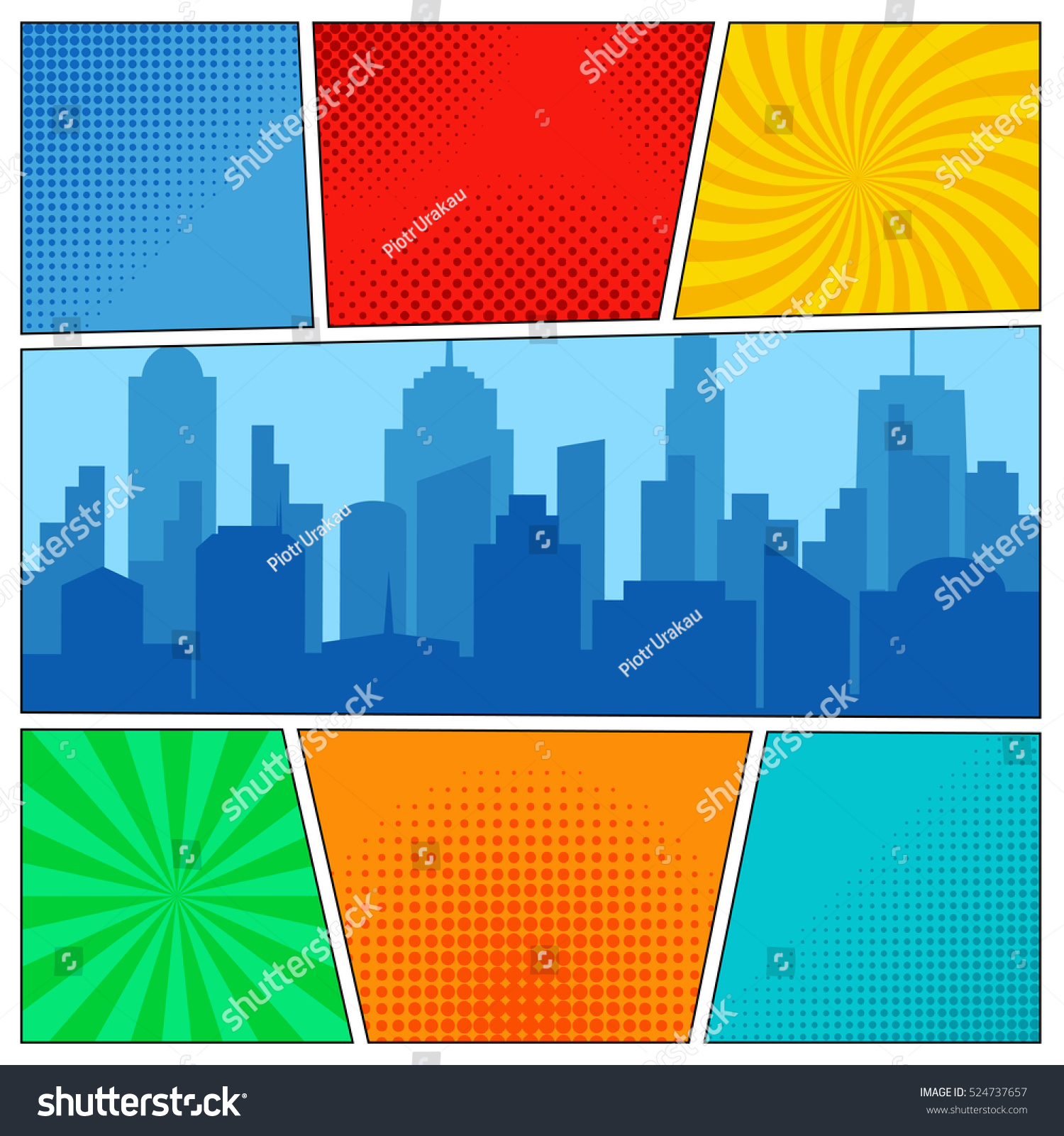 Comic Book Page Template Radial Backgrounds Stock Vector ...