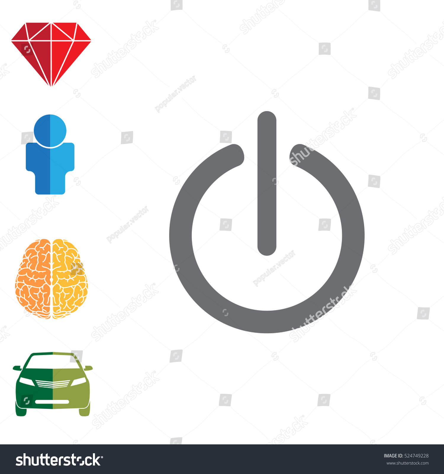 Power Onoff Icon Flat Design Style Stock Vector 524749228 Shutterstock