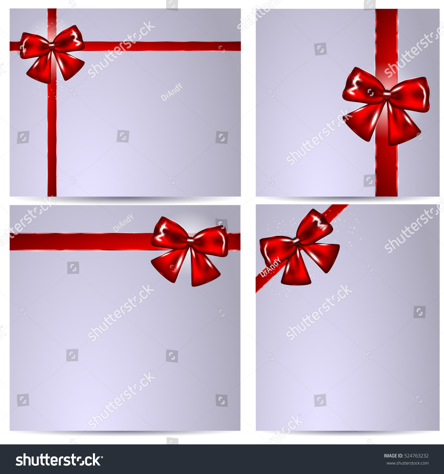 Blank Gift Card Template Greeting Notes Stock Vector Royalty Free