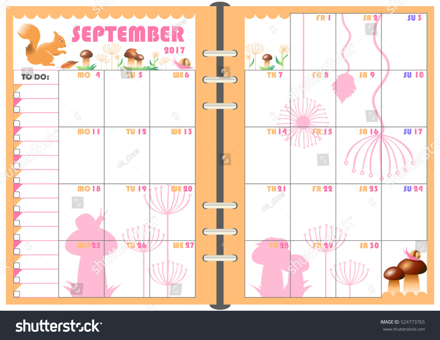 calendar daily planner template monthly september stock vector