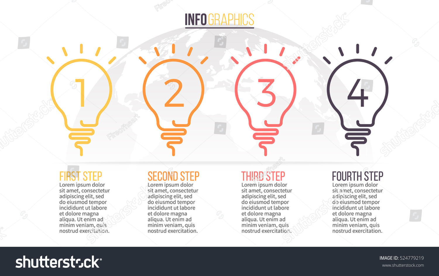 Timeline with 4 lightbulbs, ideas, steps. Vector linear infographic element