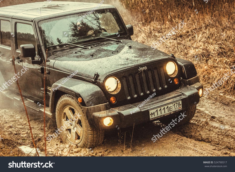 Leningrad Oblast Russia February 16 2013 Off Road Expedition Jeep Wrangler Id 524790517
