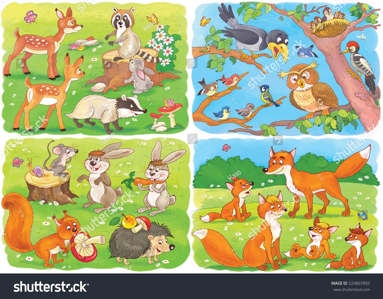 Cute Forest Animals Cute Deer Badger Stock Illustration 524807893 ...