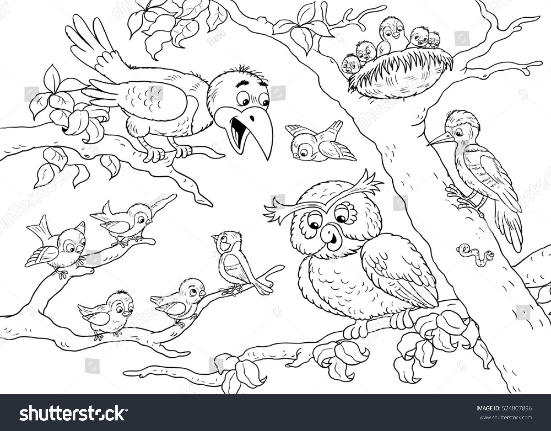 Cute Forest Animals Birds Crow Owl Woodpecker Sparrows Illustration