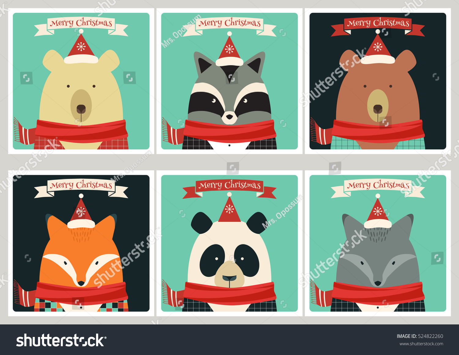 Set Christmas Cards Cute Animals Bears Stock Vector (Royalty Free ...