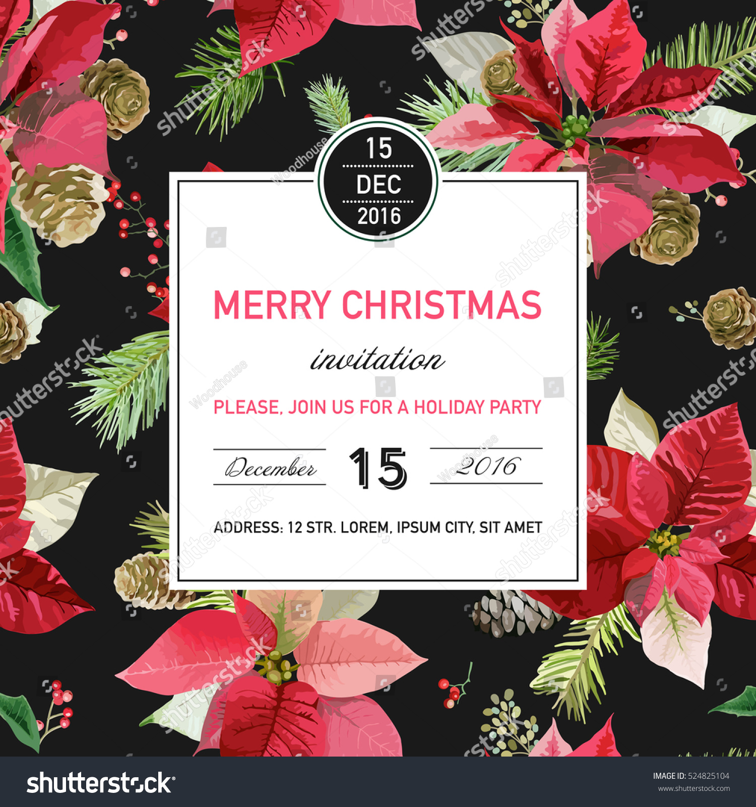 Vintage poinsettia christmas invitation card winter stock vector vintage poinsettia christmas invitation card winter background poster design vector stopboris Images